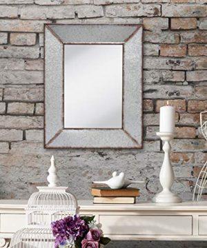 Stonebriar Rustic Rectangular Galvanized Metal Frame Hanging Wall Mirror Silver 0 3 300x360