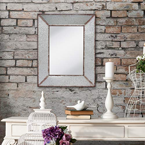 Stonebriar Rustic Rectangular Galvanized Metal Frame Hanging Wall Mirror Silver 0 3