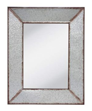 Stonebriar Rustic Rectangular Galvanized Metal Frame Hanging Wall Mirror Silver 0 300x360
