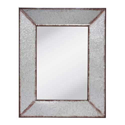 Stonebriar Rustic Rectangular Galvanized Metal Frame Hanging Wall Mirror Silver 0