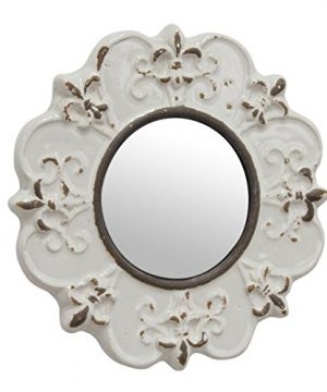 Stonebriar White Round Antique Ceramic Wall Mirror Vintage Home Dcor For Living Room Kitchen Bedroom Or Hallway French Country Decor 0 0 300x360