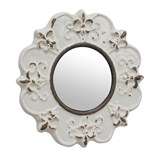 Stonebriar White Round Antique Ceramic Wall Mirror Vintage Home Dcor For Living Room Kitchen Bedroom Or Hallway French Country Decor 0 0