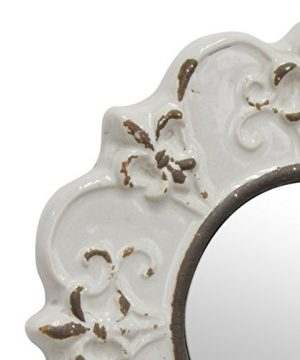Stonebriar White Round Antique Ceramic Wall Mirror Vintage Home Dcor For Living Room Kitchen Bedroom Or Hallway French Country Decor 0 1 300x360