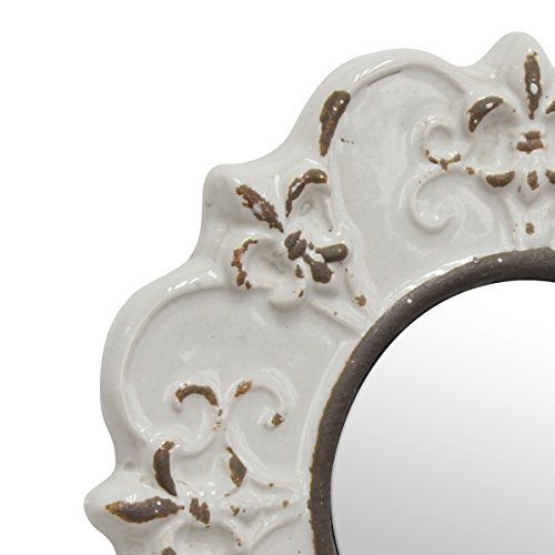 Stonebriar White Round Antique Ceramic Wall Mirror Vintage Home Dcor For Living Room Kitchen Bedroom Or Hallway French Country Decor 0 1