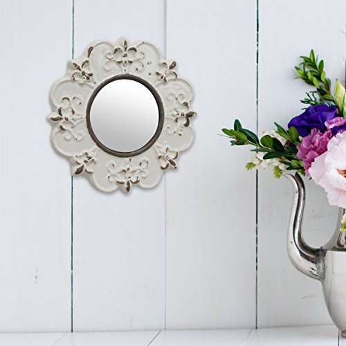 Stonebriar White Round Antique Ceramic Wall Mirror Vintage Home Dcor For Living Room Kitchen Bedroom Or Hallway French Country Decor 0 2