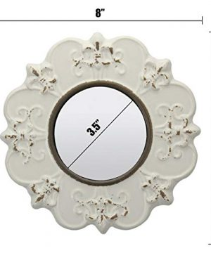 Stonebriar White Round Antique Ceramic Wall Mirror Vintage Home Dcor For Living Room Kitchen Bedroom Or Hallway French Country Decor 0 3 300x360