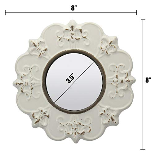 Stonebriar White Round Antique Ceramic Wall Mirror Vintage Home Dcor For Living Room Kitchen Bedroom Or Hallway French Country Decor 0 3