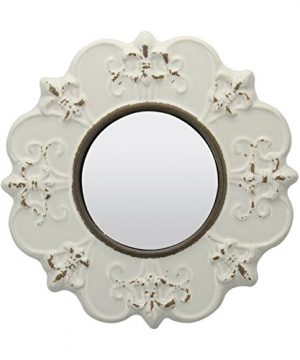 Stonebriar White Round Antique Ceramic Wall Mirror Vintage Home Dcor For Living Room Kitchen Bedroom Or Hallway French Country Decor 0 300x360