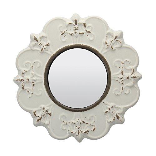 Stonebriar White Round Antique Ceramic Wall Mirror Vintage Home Dcor For Living Room Kitchen Bedroom Or Hallway French Country Decor 0