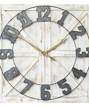 Stratton Home Dcor S11545 Rustic Farmhouse Wall Clock 3150 W X 138 D X 3150 H Distressed White Galvanized Metal Gold Black 0 300x360