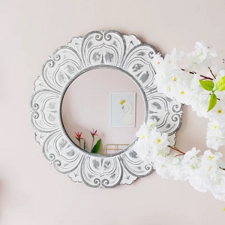 Streeter Floral Cottage Distressed Accent Mirror