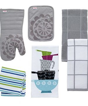 T Fal Textiles 60954 2 Pack Solid Check Parquet Design 100 Percent Cotton Kitchen Dish Towel Gray SolidCheck 2 Pack 0 0 300x360