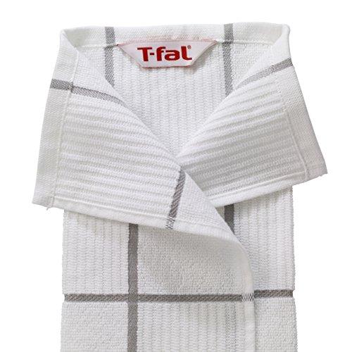 T Fal Textiles 60954 2 Pack Solid Check Parquet Design 100 Percent Cotton Kitchen Dish Towel Gray SolidCheck 2 Pack 0 1