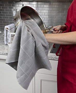 T Fal Textiles 60954 2 Pack Solid Check Parquet Design 100 Percent Cotton Kitchen Dish Towel Gray SolidCheck 2 Pack 0 3 295x360