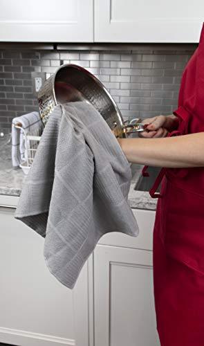 T Fal Textiles 60954 2 Pack Solid Check Parquet Design 100 Percent Cotton Kitchen Dish Towel Gray SolidCheck 2 Pack 0 3