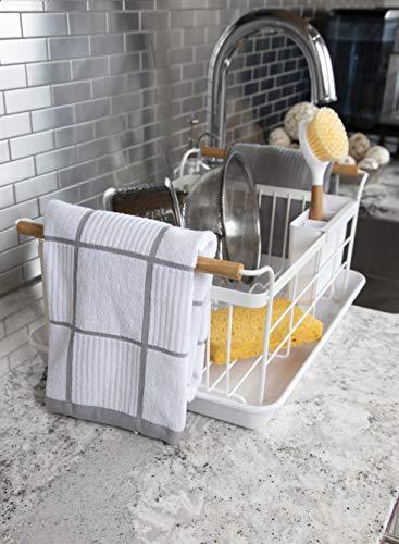 T Fal Textiles 60954 2 Pack Solid Check Parquet Design 100 Percent Cotton Kitchen Dish Towel Gray SolidCheck 2 Pack 0 4