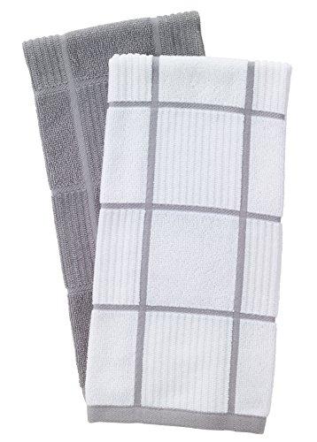 T Fal Textiles 60954 2 Pack Solid Check Parquet Design 100 Percent Cotton Kitchen Dish Towel Gray SolidCheck 2 Pack 0