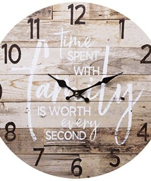 TIME Spent With Family Worth Every Second Round Wood Style Wall Clock Farmhouse Rustic Home Decor 13 Inches Diameter 0 300x360