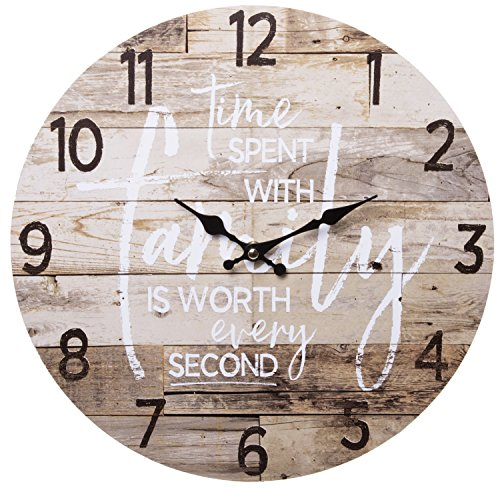 TIME Spent With Family Worth Every Second Round Wood Style Wall Clock Farmhouse Rustic Home Decor 13 Inches Diameter 0