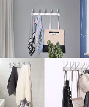 TQVAI Wall Mounted Standard Coat Hooks Rack 5 Dual Hooks Waterproof Aluminum With Strong Weight Capacity Heavy Duty Organizer For Coat Towel Bag Robe 0 1 300x360