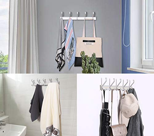 TQVAI Wall Mounted Standard Coat Hooks Rack 5 Dual Hooks Waterproof Aluminum With Strong Weight Capacity Heavy Duty Organizer For Coat Towel Bag Robe 0 1