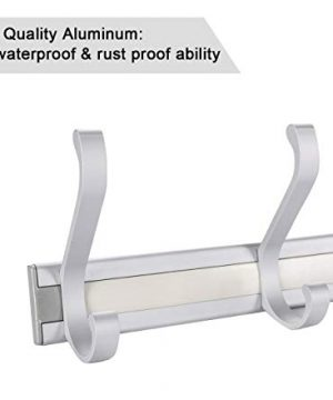TQVAI Wall Mounted Standard Coat Hooks Rack 5 Dual Hooks Waterproof Aluminum With Strong Weight Capacity Heavy Duty Organizer For Coat Towel Bag Robe 0 3 300x360