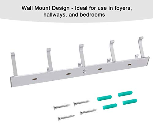 TQVAI Wall Mounted Standard Coat Hooks Rack 5 Dual Hooks Waterproof Aluminum With Strong Weight Capacity Heavy Duty Organizer For Coat Towel Bag Robe 0 4