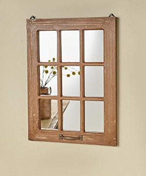 The Lakeside Collection Distressed Wood Windowpane Mirror Rustic Home Decoration Natural 0 300x360