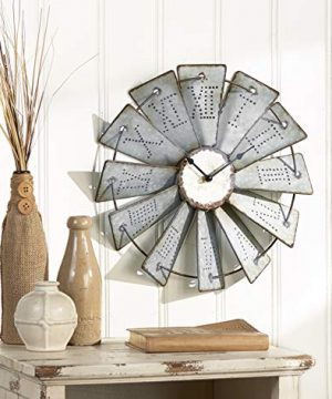 The Lakeside Collection Metal Windmill Wall Clock With Distressed Finish And Roman Numerals 0 300x360