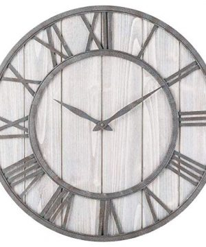 Toright Farm House Metal Solid Wood Wall Clock Kitchen Wall Clock Whitewash 16 Inch 0 300x360