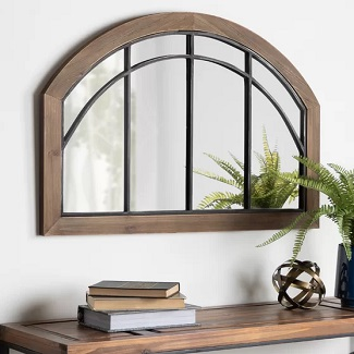 Treadwell Traditional Wood Arch Rustic Mirror
