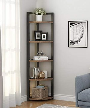 Tribesigns 5 Tier Corner Shelf Rustic Corner Storage Rack Plant Stand Small Bookshelf For Living Room Home Office Kitchen Small Space 0 0 300x360