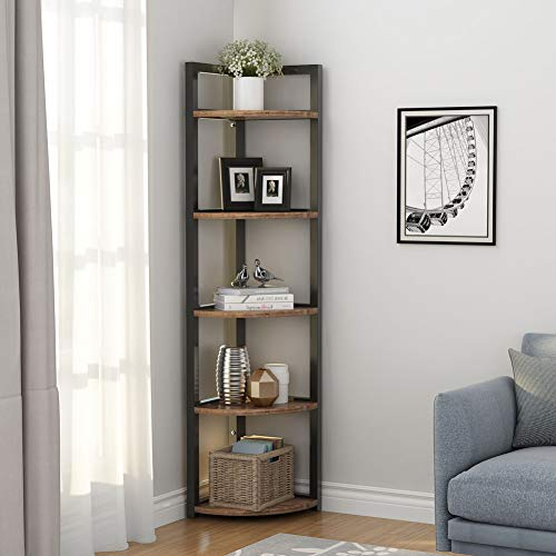 Tribesigns 5 Tier Corner Shelf Rustic Corner Storage Rack Plant Stand Small Bookshelf For Living Room Home Office Kitchen Small Space 0 0