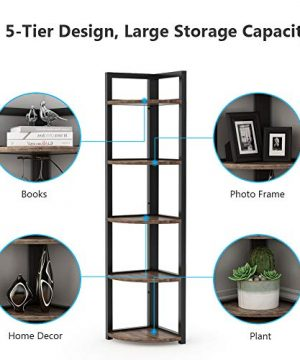 Tribesigns 5 Tier Corner Shelf Rustic Corner Storage Rack Plant Stand Small Bookshelf For Living Room Home Office Kitchen Small Space 0 2 300x360