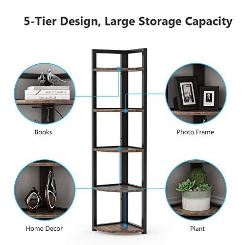 Tribesigns 5 Tier Corner Shelf Rustic Corner Storage Rack Plant Stand Small Bookshelf For Living Room Home Office Kitchen Small Space 0 2