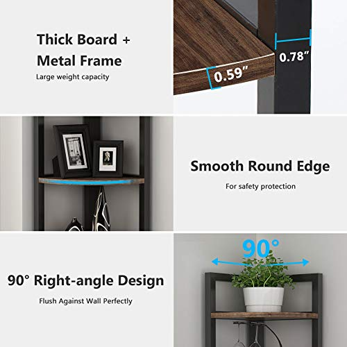Tribesigns 5 Tier Corner Shelf Rustic Corner Storage Rack Plant Stand Small Bookshelf For Living Room Home Office Kitchen Small Space 0 3