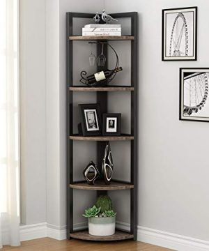 Tribesigns 5 Tier Corner Shelf Rustic Corner Storage Rack Plant Stand Small Bookshelf For Living Room Home Office Kitchen Small Space 0 300x360