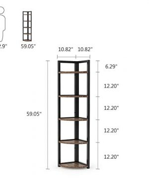 Tribesigns 5 Tier Corner Shelf Rustic Corner Storage Rack Plant Stand Small Bookshelf For Living Room Home Office Kitchen Small Space 0 4 300x360