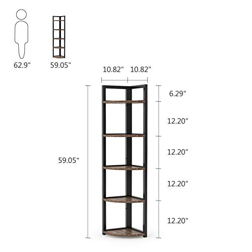 Tribesigns 5 Tier Corner Shelf Rustic Corner Storage Rack Plant Stand Small Bookshelf For Living Room Home Office Kitchen Small Space 0 4