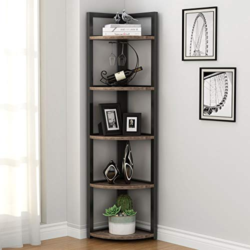 Tribesigns 5 Tier Corner Shelf Rustic Corner Storage Rack Plant Stand Small Bookshelf For Living Room Home Office Kitchen Small Space 0