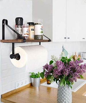 UnderStated Wall Mounted Floating Shelf Rustic MDF Wall Storage Rack With Towel Bar Removable Hooks Kitchen Bathroom Organizer Rack Rustic Brown 0 0 300x360
