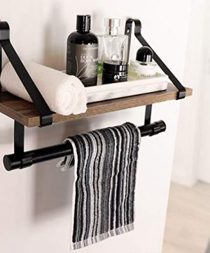 UnderStated Wall Mounted Floating Shelf Rustic MDF Wall Storage Rack With Towel Bar Removable Hooks Kitchen Bathroom Organizer Rack Rustic Brown 0 1 300x360