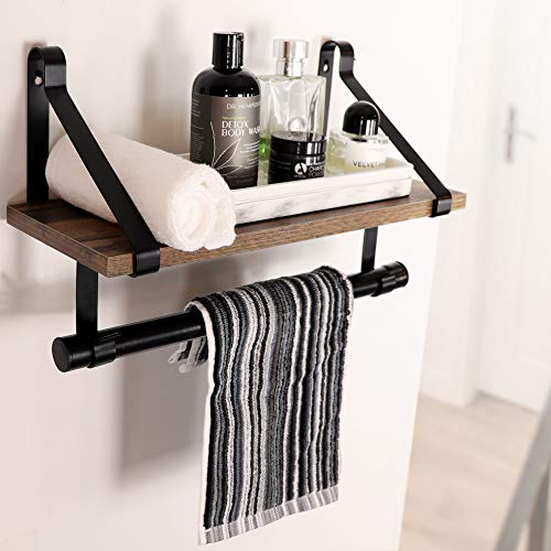 UnderStated Wall Mounted Floating Shelf Rustic MDF Wall Storage Rack With Towel Bar Removable Hooks Kitchen Bathroom Organizer Rack Rustic Brown 0 1
