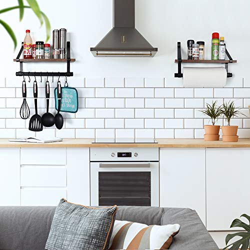 UnderStated Wall Mounted Floating Shelf Rustic MDF Wall Storage Rack With Towel Bar Removable Hooks Kitchen Bathroom Organizer Rack Rustic Brown 0 2