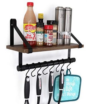 UnderStated Wall Mounted Floating Shelf Rustic MDF Wall Storage Rack With Towel Bar Removable Hooks Kitchen Bathroom Organizer Rack Rustic Brown 0 300x360