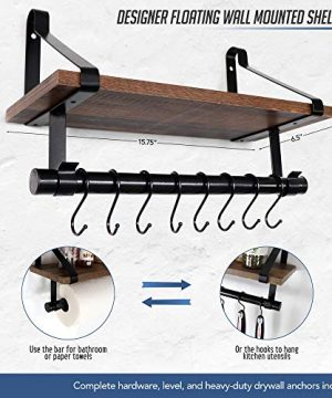 UnderStated Wall Mounted Floating Shelf Rustic MDF Wall Storage Rack With Towel Bar Removable Hooks Kitchen Bathroom Organizer Rack Rustic Brown 0 4 300x360