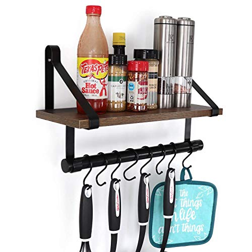 UnderStated Wall Mounted Floating Shelf Rustic MDF Wall Storage Rack With Towel Bar Removable Hooks Kitchen Bathroom Organizer Rack Rustic Brown 0
