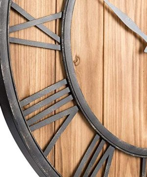 Upuptop Farm House Metal Solid Wood Wall Clock Kitchen Wall Clock Rustic Barn Vintage Bronze 16 Inch 0 1 300x360