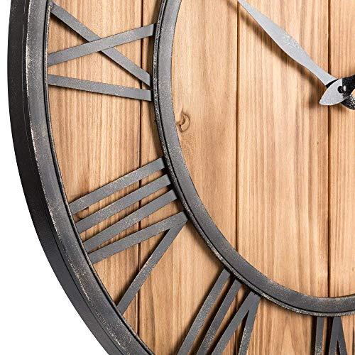 Upuptop Farm House Metal Solid Wood Wall Clock Kitchen Wall Clock Rustic Barn Vintage Bronze 16 Inch 0 1