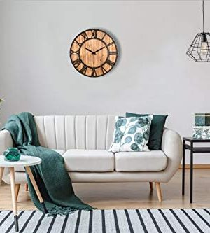 Upuptop Farm House Metal Solid Wood Wall Clock Kitchen Wall Clock Rustic Barn Vintage Bronze 16 Inch 0 3 300x333